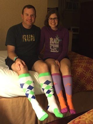 Wearing our Pro Compression socks and Raw Threads shirts