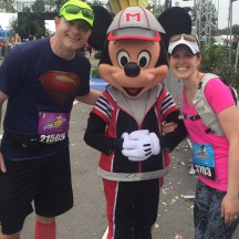 Picture with Mickey at the marathon finish line