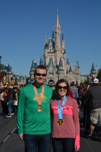 Picture with our medals in front of the castle